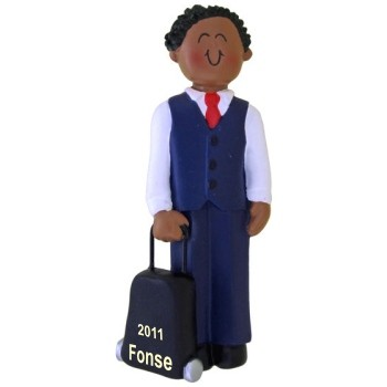 African American Male Flight Attendant Personalized Christmas Ornament