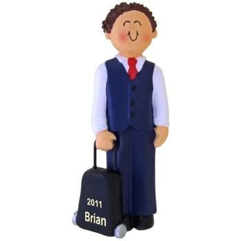 Male Brunette Flight Attendant Personalized Christmas Ornament