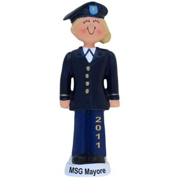Army Female Blond Christmas Ornament Personalized by Russell Rhodes