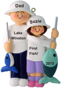 Fishing Dad and Daughter Christmas Ornament Personalized by Russell Rhodes