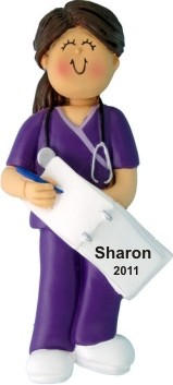 Nurse in Purple Scrubs Female Brunette Personalized Christmas Ornament