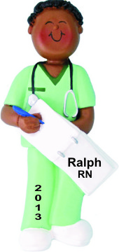Nurse Graduate in Scrubs African American Male Personalized Christmas Ornament