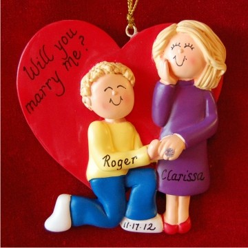 Marry Me - Blond Male and Female Personalized Christmas Ornament