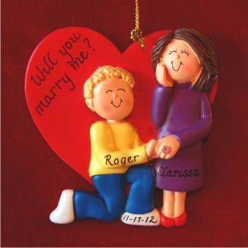 Marry Me - Blond Male and Brunette Female Christmas Ornament