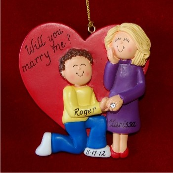 Marry Me - Brunette Male and Blond Female Personalized Christmas Ornament