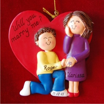 Marry me - Brunette Male and Female Personalized Christmas Ornament