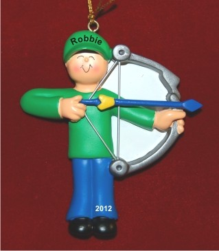Male Archery Personalized Christmas Ornament