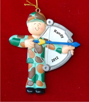 Male Hunter with High-Powered Bow Personalized Christmas Ornament