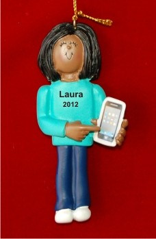 African-American Female with Smart Phone Christmas Ornament