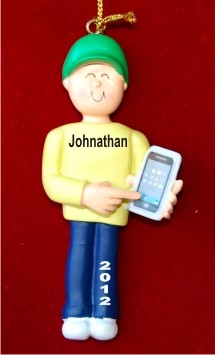 Male with Smart Phone Christmas Ornament Personalized by Russell Rhodes