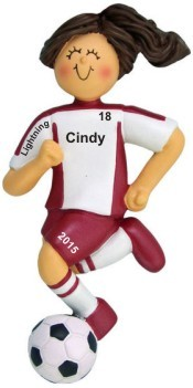 Soccer Dribbling Red Uniform Female Brunette Christmas Ornament Personalized by Russell Rhodes