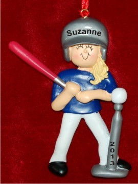 Tee Ball: Female Blond Christmas Ornament Personalized