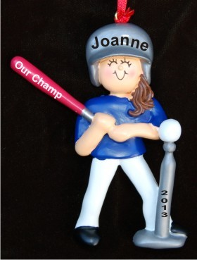 Tee Ball Female Brunette Personalized Christmas Ornament