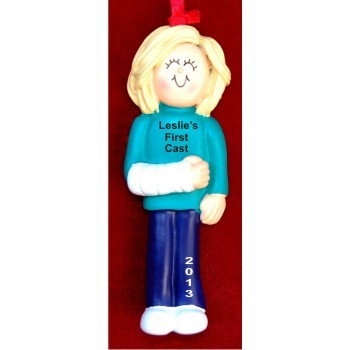 Cast on Arm Female Blond Christmas Ornament