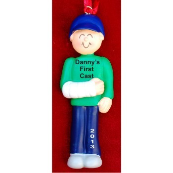 Cast on Arm Male Christmas Ornament - Cast On Arm Male Hand Personalized Christmas Ornaments By Russell