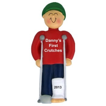 Crutches Male Christmas Ornament Personalized by Russell Rhodes
