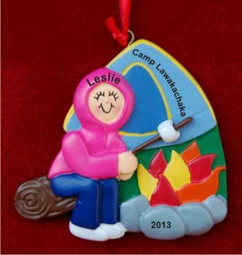 Camping Bliss: Girl with Fire & Marshmallow Personalized Christmas Ornament