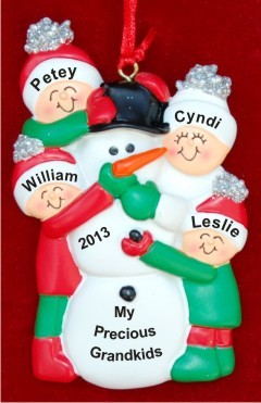 My 4 Grandkids Making a Snowman Personalized Christmas Ornament