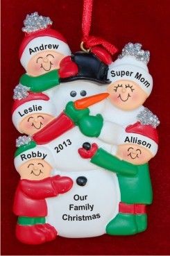 Single Mom with 4 Children Making a Snowman Christmas Ornament Personalized by Russell Rhodes