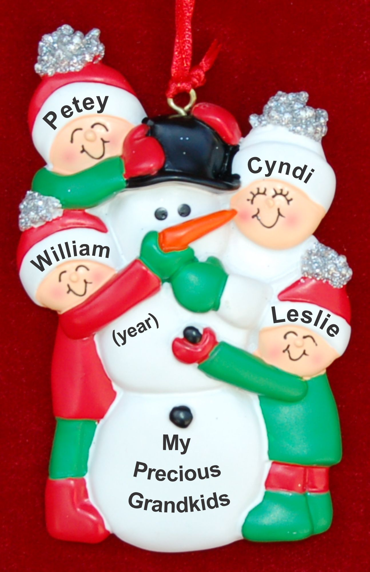 Grandparents Christmas Ornament Making Snowman 4 Grandkids by Russell Rhodes
