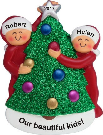 Xmas Tree Fun Our Beautiful Kids Christmas Ornament Personalized by Russell Rhodes