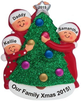 single dad 2 kids decorating xmas tree christmas ornament