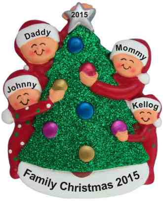 Family Decorating Tree 4 Christmas Ornament Personalized by Russell Rhodes