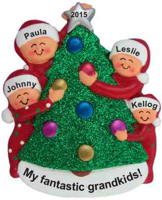 My Fantastic 4 Grankids Xmas Tree Christmas Ornament Personalized by Russell Rhodes