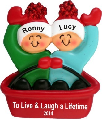 Adventures in Sledding - Couple Christmas Ornament