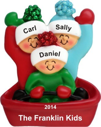 Adventures in Sledding Our 3 Kids Christmas Ornament