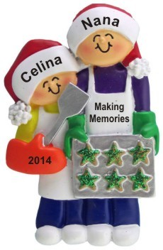 Baking Cookies with Grandma 1 Child Christmas Ornament Personalized by Russell Rhodes