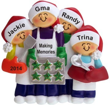 Baking Cookies with Great Grandma 3 Children Christmas Ornament Personalized by Russell Rhodes