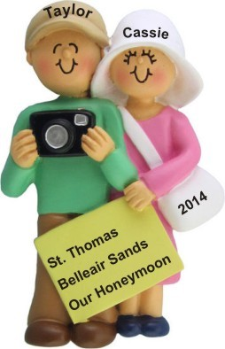 Honeymoon Couple with Camera Christmas Ornament Personalized by Russell Rhodes