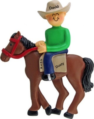 Horseback Fun Male Christmas Ornament Personalized by Russell Rhodes
