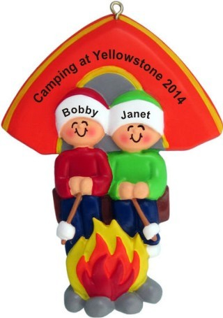 Camping Out Couple Christmas Ornament
