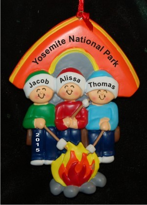 Camping with Our 3 Kids Christmas Ornament Personalized by Russell Rhodes
