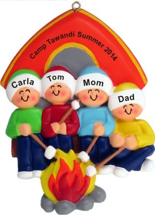 Camping Out Family of Four Christmas Ornament