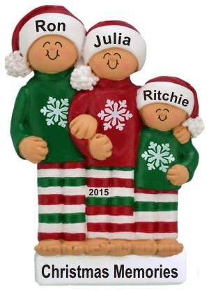 Our Comfy Pajamas 3 Grandkids Christmas Ornament Personalized by Russell Rhodes