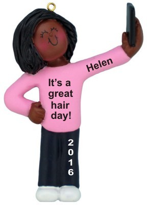 selfie african american female christmas ornament