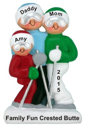 Holiday Ski Adventure Family of 3 Christmas Ornament Personalized by Russell Rhodes