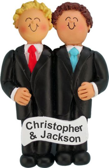Same Sex Marriage Males Blond & Brunette Christmas Ornament Personalized by Russell Rhodes