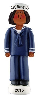 Navy Female African American Christmas Ornament Personalized by Russell Rhodes