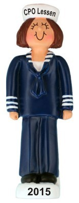 Navy Female Brunette Christmas Ornament Personalized by Russell Rhodes