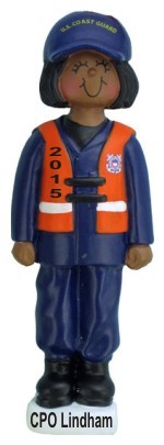 Armed Services Coast Guard Female African American Christmas Ornament Personalized by Russell Rhodes