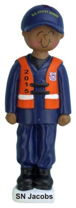 Armed Services Coast Guard Male African American Christmas Ornament