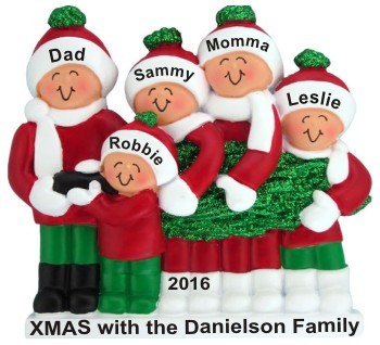 Buying Our Family Tree Family of 5 Christmas Ornament