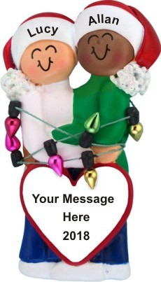 Bi-Racial Couple First Christmas Ornament Female Caucasian Male African American Personalized by Russell Rhodes