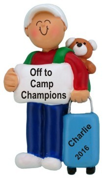 Off to Camp Male Child Christmas Ornament Personalized by Russell Rhodes
