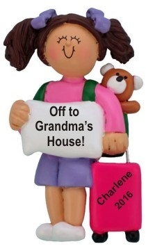 Off to Grandma's House Female Brunette Christmas Ornament Personalized by Russell Rhodes
