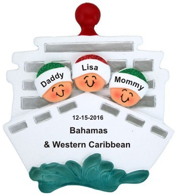 Cruisin' Family of 3 Out to Sea Christmas Ornament Personalized by Russell Rhodes